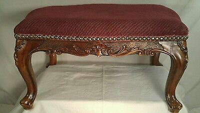 """Antique Victorian Large Foot Stool-Carved Wood  20"""" X 16"""" X 11"""""""