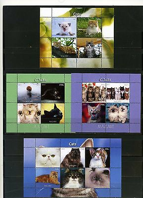 Malawi 2011-2012 Fauna Cats 4 Sheets Of 4 & 6 Stamps Mnh