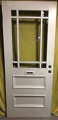 9 Pane BEVELLED Glass Wood Exterior Entry Door /w 34x81 Architectural Salvage