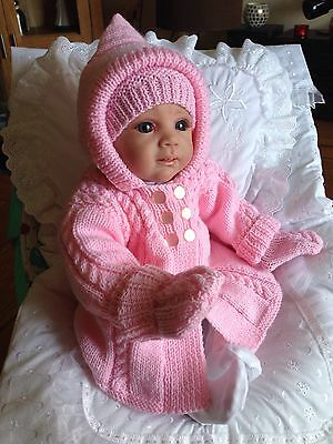 Hand Knitted Hooded Coat Hat And Mitts For Baby Girl Or Reborn Baby