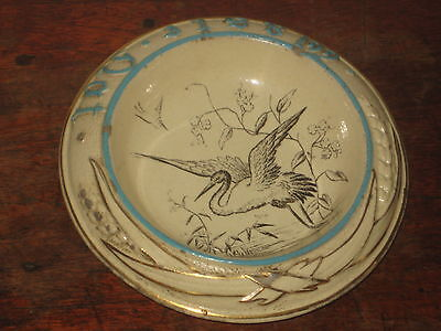 Interesting Aesthetic Movement Pottery Bowl Waste Not With Heron