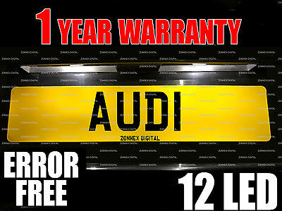 AUDI A6 SUPER BRIGHT PURE WHITE Upgrade Number Plate Light Bulbs Pair - 12 LED