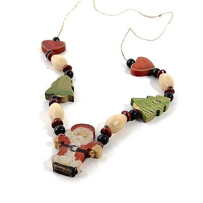 Vintage Santa Hand-Painted Wood Christmas Necklace 1990s