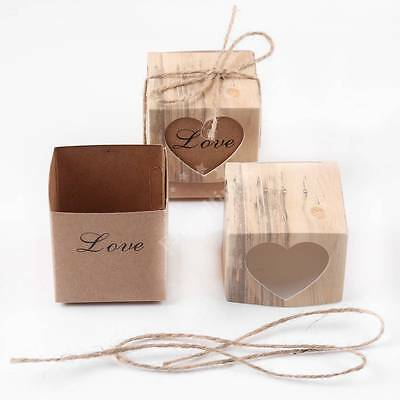 50X Retro Style Jute Brown Heart Kraft Candy Gift Boxes Cake Party Wedding Favor