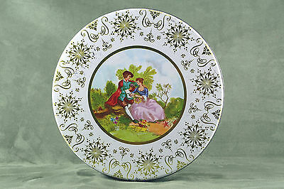 Vtg Victorian Colonial Couple Floral White & Gold Tin Metal Candy Dish Container