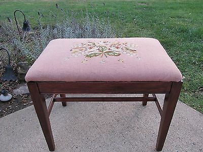 Antique Vanity Wood Bench Maple Piano Design Stool Pink Needle Point Floral