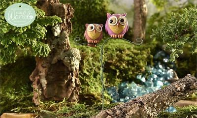 Miniature Dollhouse FAIRY GARDEN GLOW in the DARK Double Owl