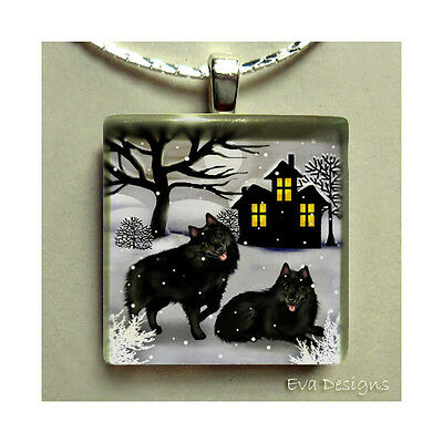 Schiperrke Dogs Full Moon Necklace Jewelry Art Pet Gift Glass Pendant & Chain