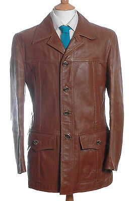 Vintage 1970's Brown Leather Safari Jacket M