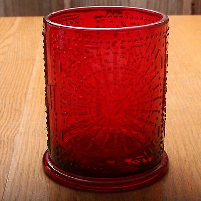 Viking Art Glass Ruby Red Round Candle Holder