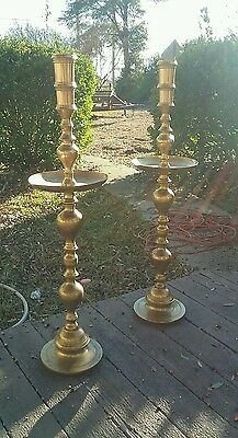 """VTG PAIR LARGE BRASS Candle Holders, temple church 40""""tall"""