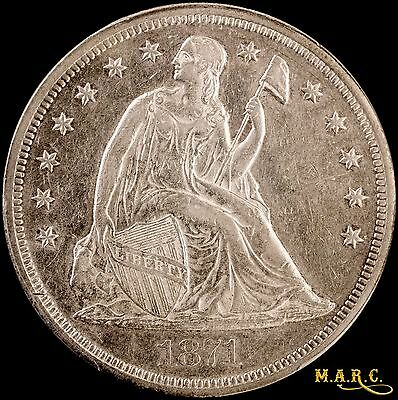 1871 AU53 PCGS 1$ Seated Liberty Dollar with Mint Luster, Attractive Eye Appeal!
