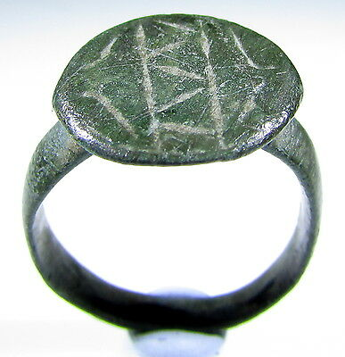 Scarce Roman Bronze Ring With Decorated On Bezel - Wearable - 184