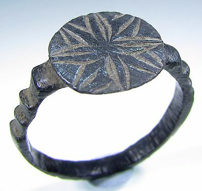 Superb Medieval Knight's Era Bronze Ring With Cross Motif - Wearable - 520