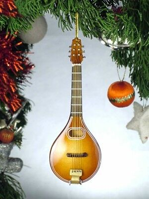 "Mandolin Musical Instrument Christmas Ornament 5"" Wooden Replica"