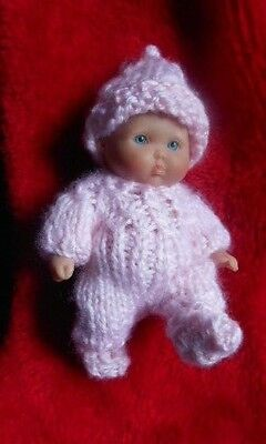 "Doll Clothes Pink Hand knitted 3 pcs romper set for baby ooak 6"" Berenguer 5"""