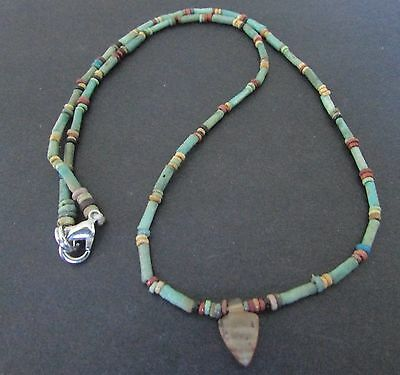 NILE  Ancient Egyptian Heart Amulet Mummy Bead Necklace ca 600 BC