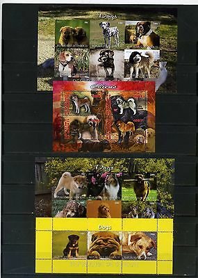 Djibouti 2011-2013  Dogs 4 Sheets Of 3,4 & 6 Stamps Mnh