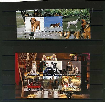 Djibouti 2012 Fauna Dogs 2 Sheets  Of 3 & 6 Stamps Mnh