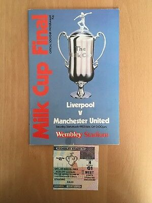 Liverpool V Manchester United 1983 League Cup Final Ticket,programme
