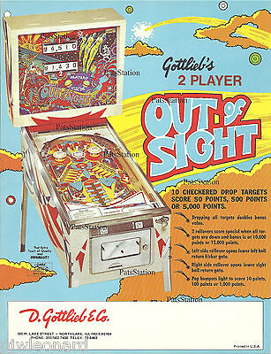 OUT of SIGHT - 1974 Gottlieb Pinball Flyer