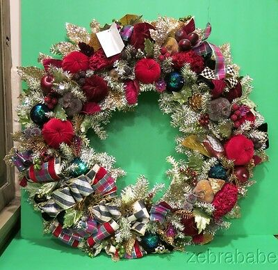 """Mackenzie Childs Christmas Wreath NWT Holiday Frost 28"""""""