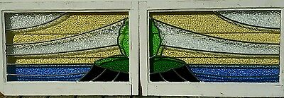 Antique Stained glass window, double transom