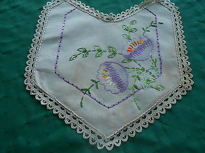 Vintage Doily With Beautiful Hand Embroidered Silk Flowers & Lace Trim, C.1920