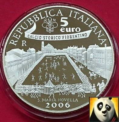 2006 ITALY €5 EURO Fifa World Cup Germany Football Soccer Silver Proof Coin