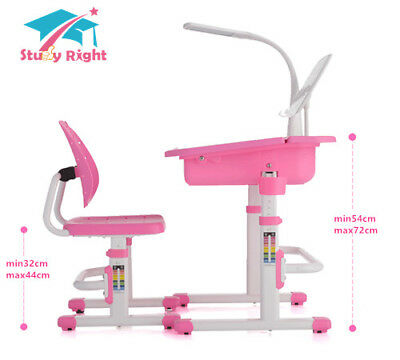 Kids Height Adjustable Desks & Chair with LED Lamp, Chair with Back Support.