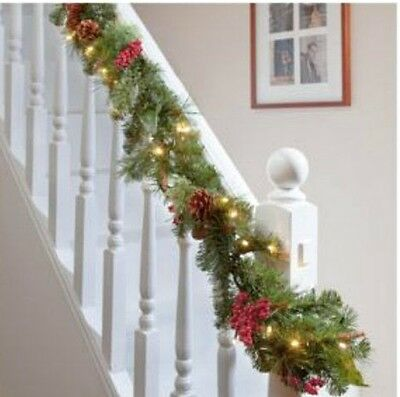 Christmas Pre Lit Garland Decoration Stairs Fireplace Light Up Decor Bundles 6FT