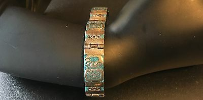 Sterling Silver Turquoise Inlay Link Bracelet Mexican Modernist PMZ Size 7.25