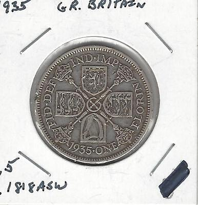 Great Britain Florin, Two Shillings, 1935, Dent on obverse rim, Silver