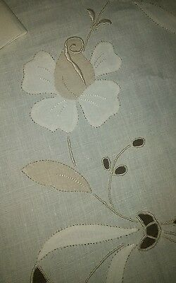 """Vintage Madeira Tablecloth/napkins Linen Embroidered Roses 92""""×70"""" Gorgeous(#44)"""