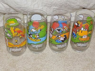 Set of (4) 1965 McDonald's Camp Snoopy Collection Peanuts Collector's Glasses