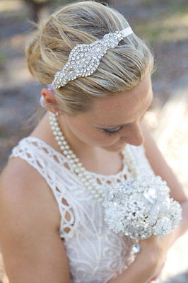 Handmade in Australia Bridal Headpiece Headband  Wedding Rhinestone Headpiece