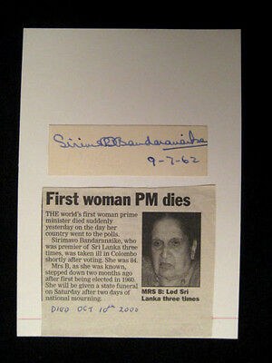 SIRIMAVO BANDARANAIKE - ORIGINAL SIGNED AUTOGRAPH - WORLD`s FIRST PRIME MINISTER