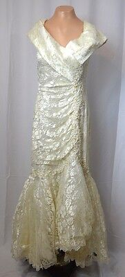 Vintage Wedding Dress Size 12 W/ Arm Sleeves 70's/80's Bow Lace Pearls Gown