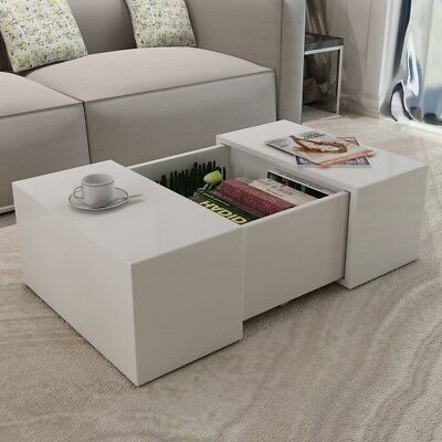 High Gloss Extending Coffee Table White Extendable Square Modern Contemporary