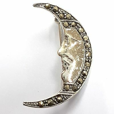 Cute Marcasite Happy Moon Face Brooch 925 Solid Sterling Silver Hallmarked