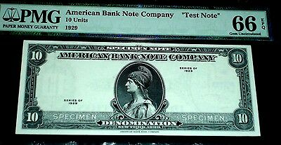 "1929 American Bank Note Company ""test Note"". Pmg 66 Epq, Specimen Note"