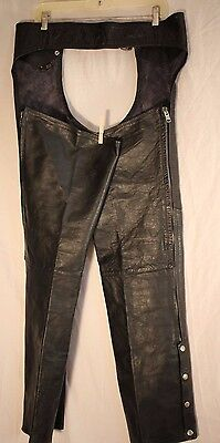 Leather Motorcycle Chaps Wheels of Man Black  Waist Adjusts 38 to 42 Inseam 32