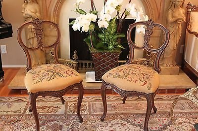 ANTIQUE FRENCH CARVED AUBUSSON TAPESTRY CHAIR / FRENCH SALON CHAIR Individual