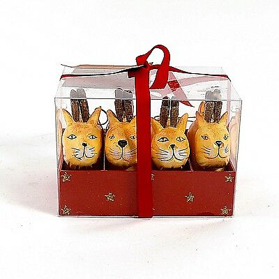 Golden Tabby Cat Reindeer - Set of 4 in Box - Christmas Ornaments