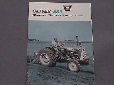 original 1965 Oliver 550 Tractor color sales Brochure Catalog