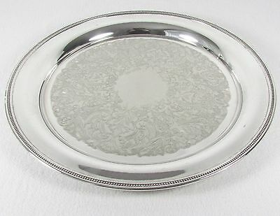 """Oneida Silverplate Colonial Suite Round Beaded Serving Tray Platter Charger 15"""""""