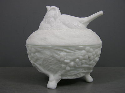 Antique Opaque White Milk Glass Robin Bird Covered Dish Detailed Footed 1890's