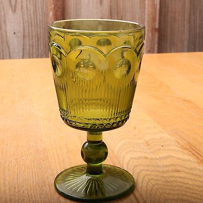 Vintage Green Glass Goblet Lines and Circles Pattern Footed Wine