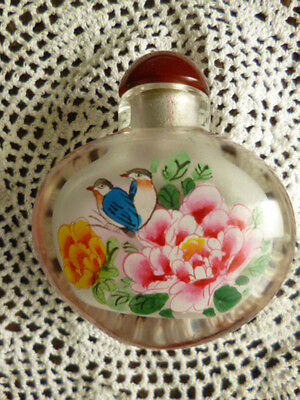 Vintage glass ladies perfume bottle vanity container glass stopper flowers birds