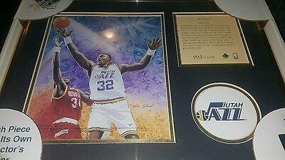KARL MALONE FRAMED Kelly Russell Lithograph Print Original Art LIMITED EDITION